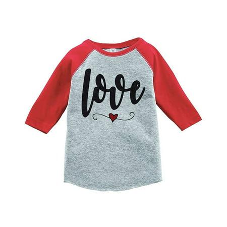 Custom Party Shop Kids Love Heart Happy Valentine's Day Red Raglan - Small Youth (6-8) T-shirt](Valentine Kids)