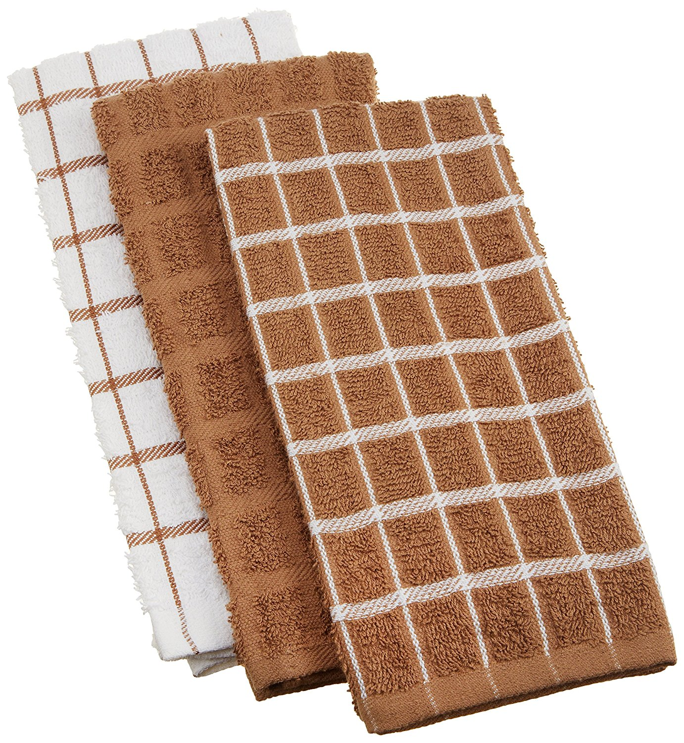 """100% Cotton Terry Kitchen Dish Towels, Highly Absorbent, 25"""" x 15"""", 3-Pack, Mocha Brown, VALUE PACK. The Ritz set of three (3), 100-percent terry looped.., By Ritz"""