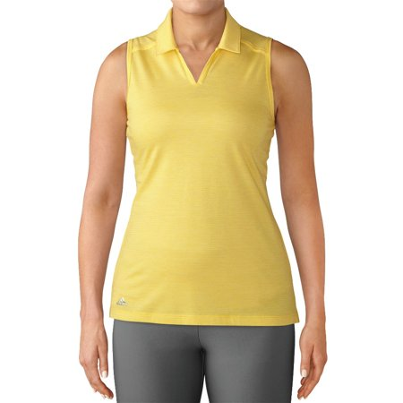 NEW Lady Adidas Golf Tonal Stripe Sleeveless Polo Shirt Eqt Yellow Extra (Adidas Eqt Support Ultra Chinese New Year Pack)