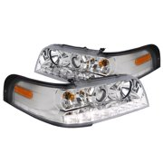 Spec-D Tuning For 1998-2011 Ford Crown Victoria Smd Led Projector Headlights Chrome Head Lamps 1999 2000 2001 2002 2003 2004 2005 2006 2007 2008 2009 2010 2011 (Left+Right)