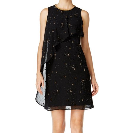 SLNY NEW Black Womens Size 6 Embellished Neck Shimmer Shift Dress](Shimmer Dresses)