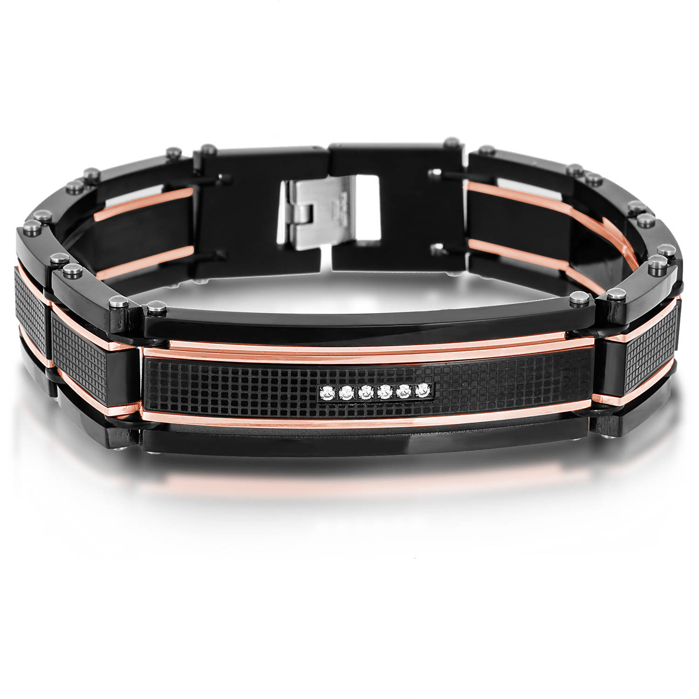 Men's Stainless Steel Three-Tone Crystal ID and Rivet Link Bracelet