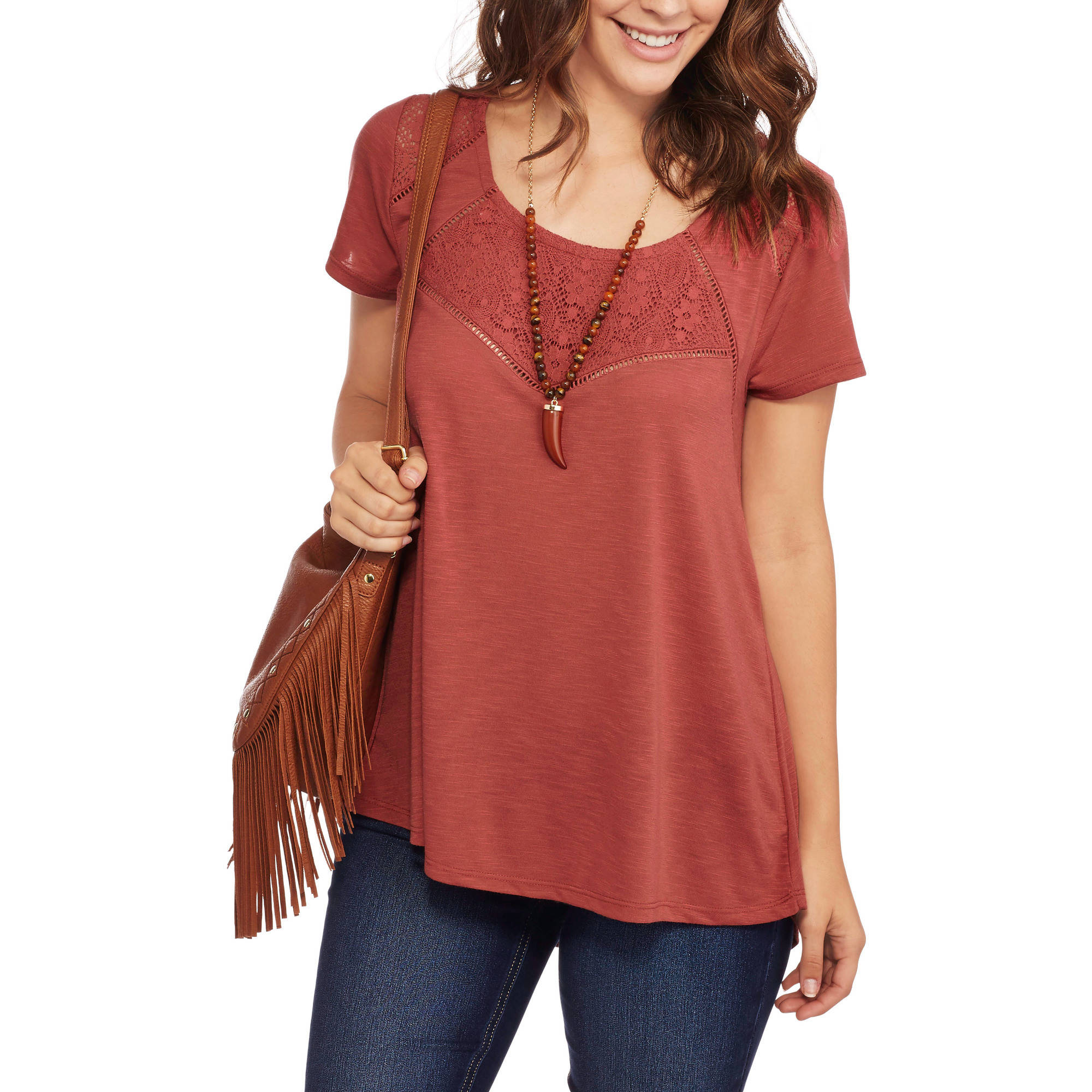 Absolutely Famous Women's Feminine Swing Top with Lace Insets