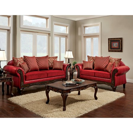 Furniture of America Cardinal Formal 2-piece Traditional Red Sofa ...