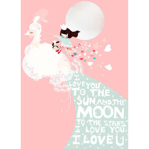 Oopsy Daisy - I Love You To the Sun And The Moon - Pink Canvas Wall Art 18x24, Schmooks
