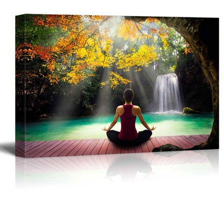 wall26 - Girl Meditating on a Bridge Under a Tree Looking Over a Waterfall - Canvas Art Home Decor - 32x48 inches