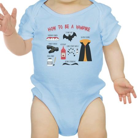 Vampire Steps Halloween Baby Bodysuit Sky Blue Cute Baby Boy Bodysuit (Halloween Steps)