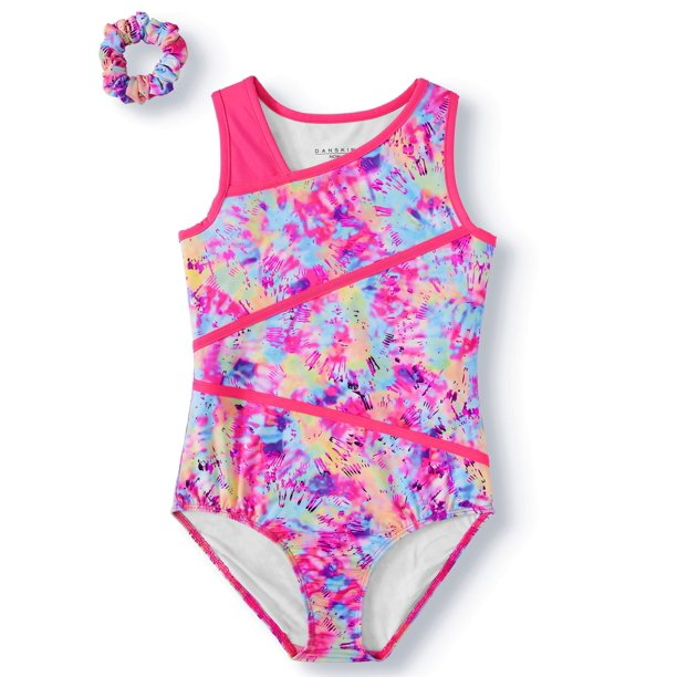 Danskin Now Tie Dye Printed Leotard with Keyhole Back, (Little Girls & Big Girls)