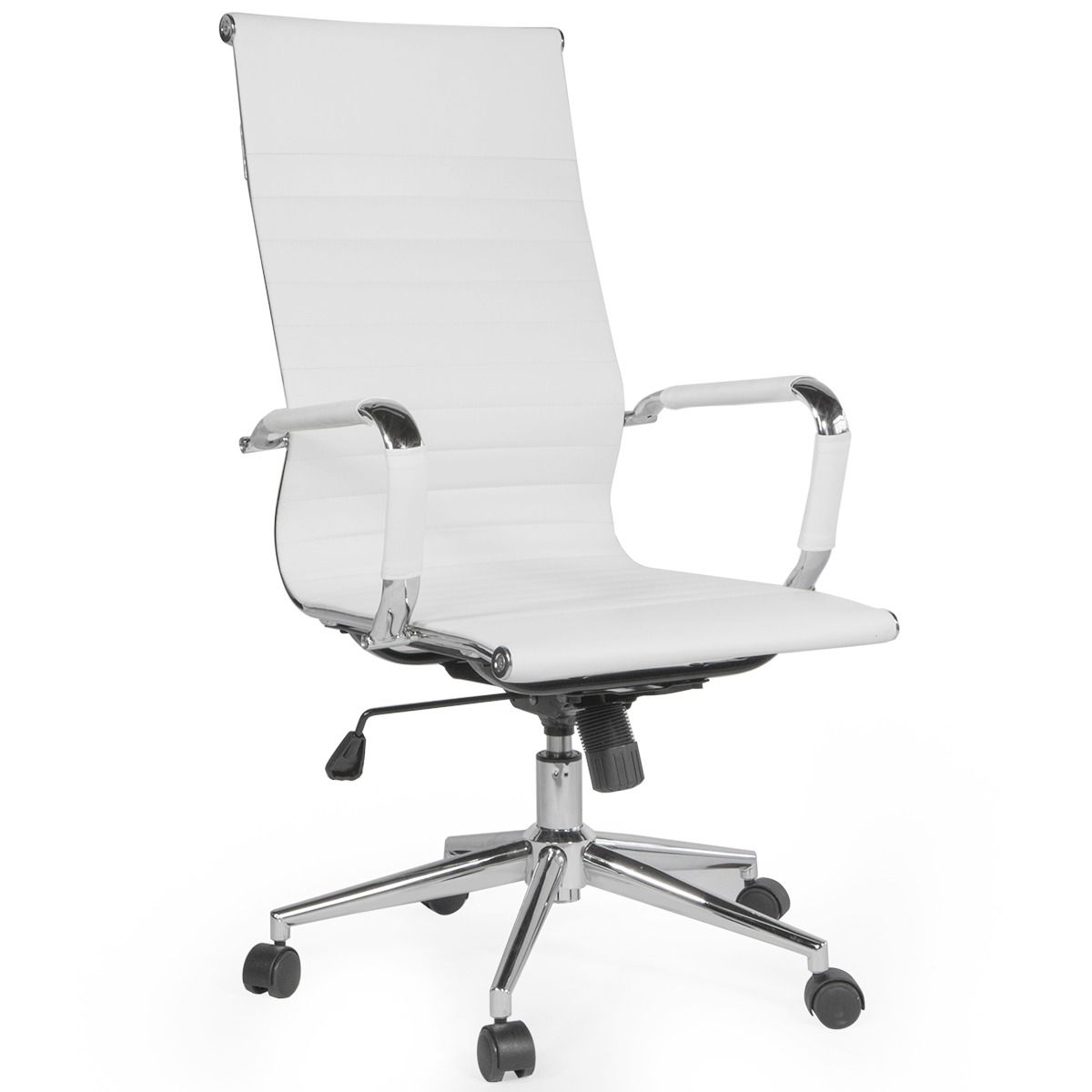 Details about Modern Office Chair Ribbed High-Back Leather Adjustable  Height w/ Wheels, White