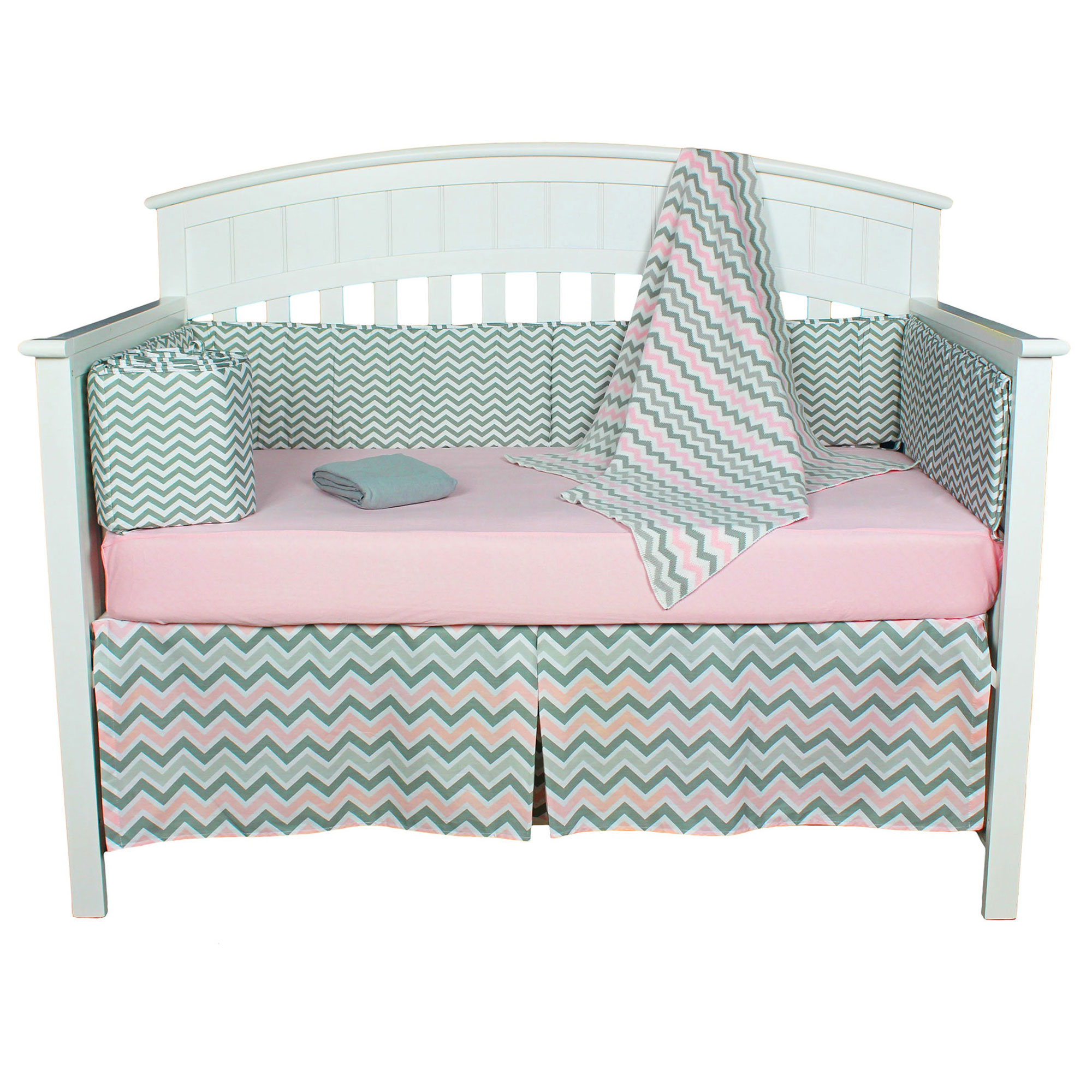 American Baby Company Crib Bedding Set - Pink and Grey Zig Zag - Chevron 5 Piece Baby Bedding Set with Bumper