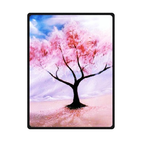 CADecor Cherry Blossom Wind Pink Draw Fleece Blanket Throws 58x80 inches