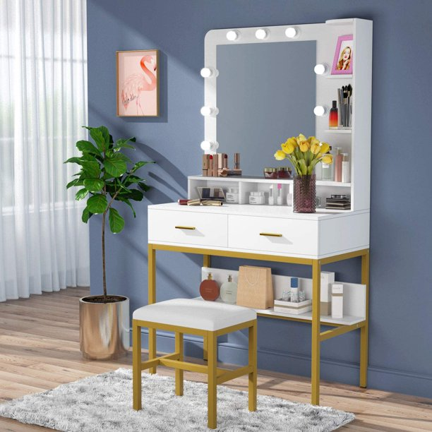 9 Lights Makeup Vanity Dressing Table, Vanity Dressing Table With Light Up Mirror