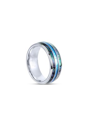 Tungsten Hawaii Australia Wedding Engagement Band Ring 8mm Men Comfort Fit Exotic Opal Gem Abalone - size 10