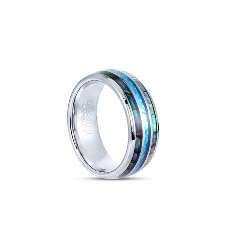 Tungsten Hawaii Australia Wedding Engagement Band Ring 8mm Men Comfort Fit Exotic Opal Gem Abalone - size 8
