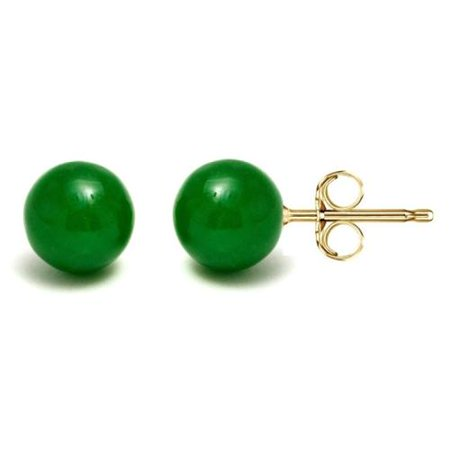 Pori 14k Gold Green Jade Ball Stud Earrings 6mm