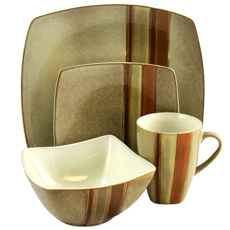 Gibson Regent Classic 16 Piece Dinnerware Set in Taupe