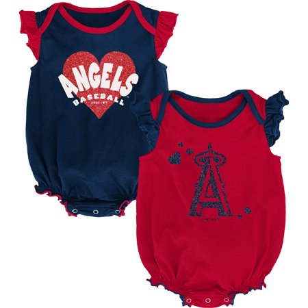 Los Angeles Angels Girls Newborn & Infant Double Trouble Two-Pack Bodysuit Set - Red/Navy