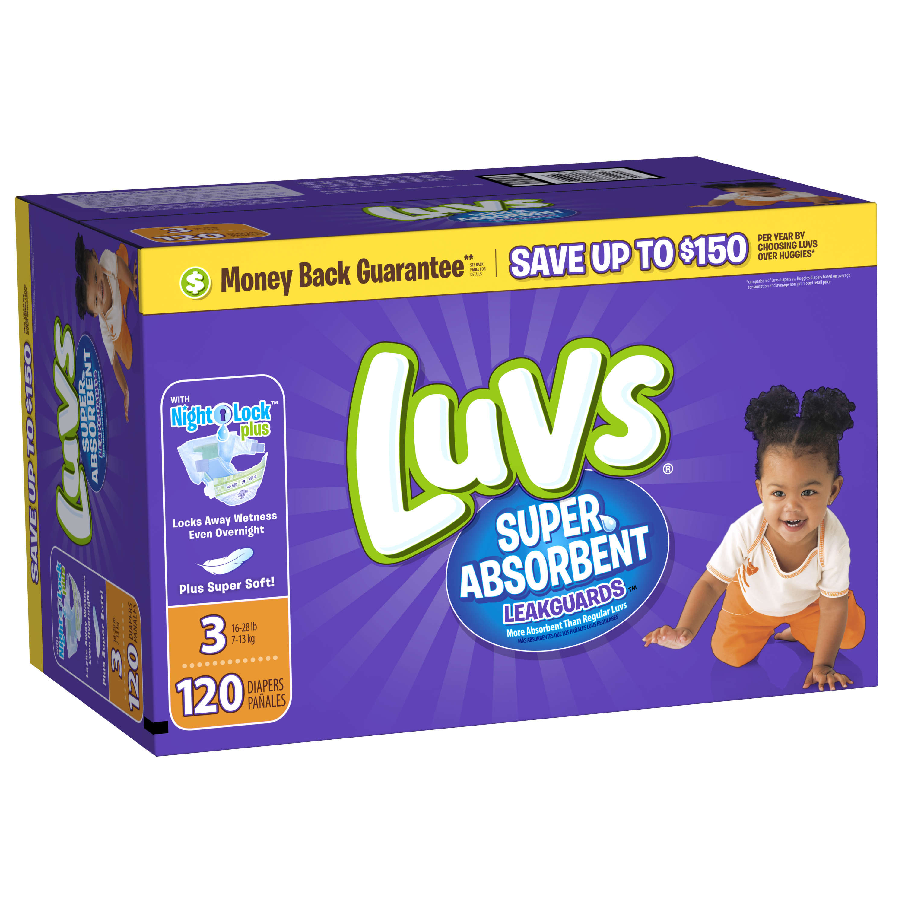 Luvs Super Absorbent Leakguards Diapers, Size 3, 120 Diapers