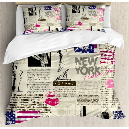 United States Queen Size Duvet Cover Set, Newspaper New York with Sketchy Statue of Liberty and Texts Lipstick Vintage, Decorative 3 Piece Bedding Set with 2 Pillow Shams, Multicolor, by Ambesonne
