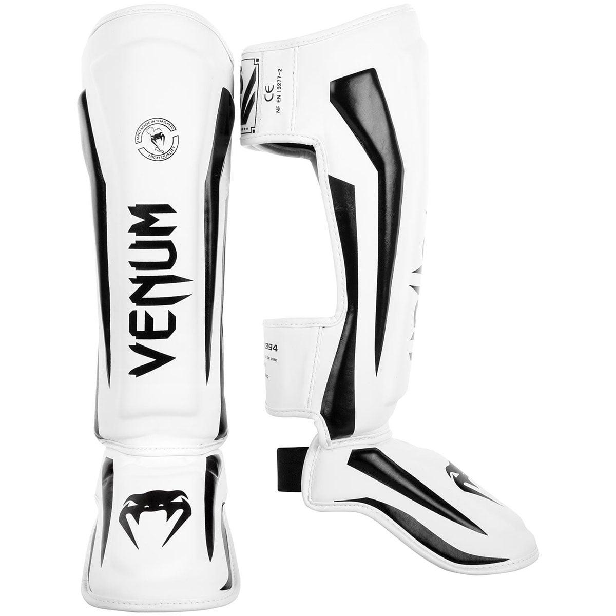 Venum Elite Lightweight Standup Protective MMA Shin Guards - White/Black