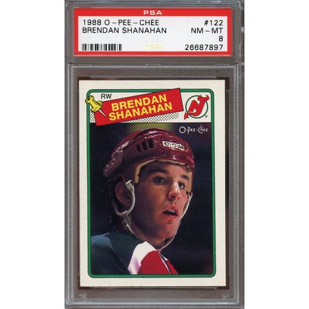 1988 89 O Pee Chee  122 Brendan Shanahan New Jersey Devils Rookie Card Psa 8