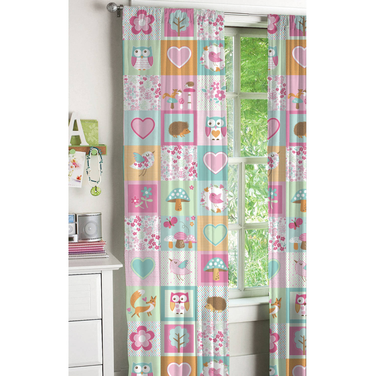 Mainstays Woodland Safari Friends Girls Bedroom Curtain Panel