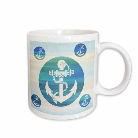 3dRose Anchor in aqua circles nautical beach theme art, Ceramic Mug, 11-ounce - Nautical Themed Food Ideas