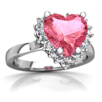 Lab Pink Sapphire Halo Heart Ring in 14K White Gold by