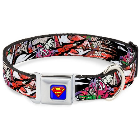 Dog Collar SMC-Superman Blue - Superman Color Flying Bricks Scene - Large Pet Collar - Superman Pet
