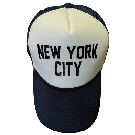 NYC FACTORY New York City Baseball Hat Screen-Printed Mesh Trucker Cap  (Navy)