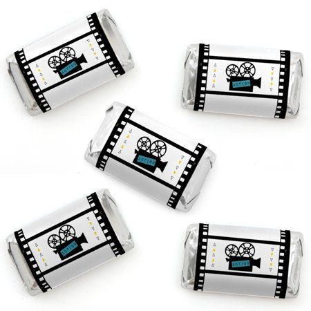 Movie - Mini Candy Bar Wrapper Stickers - Hollywood Party Small Favors - 40 Count (Hollywood Sign For Party)