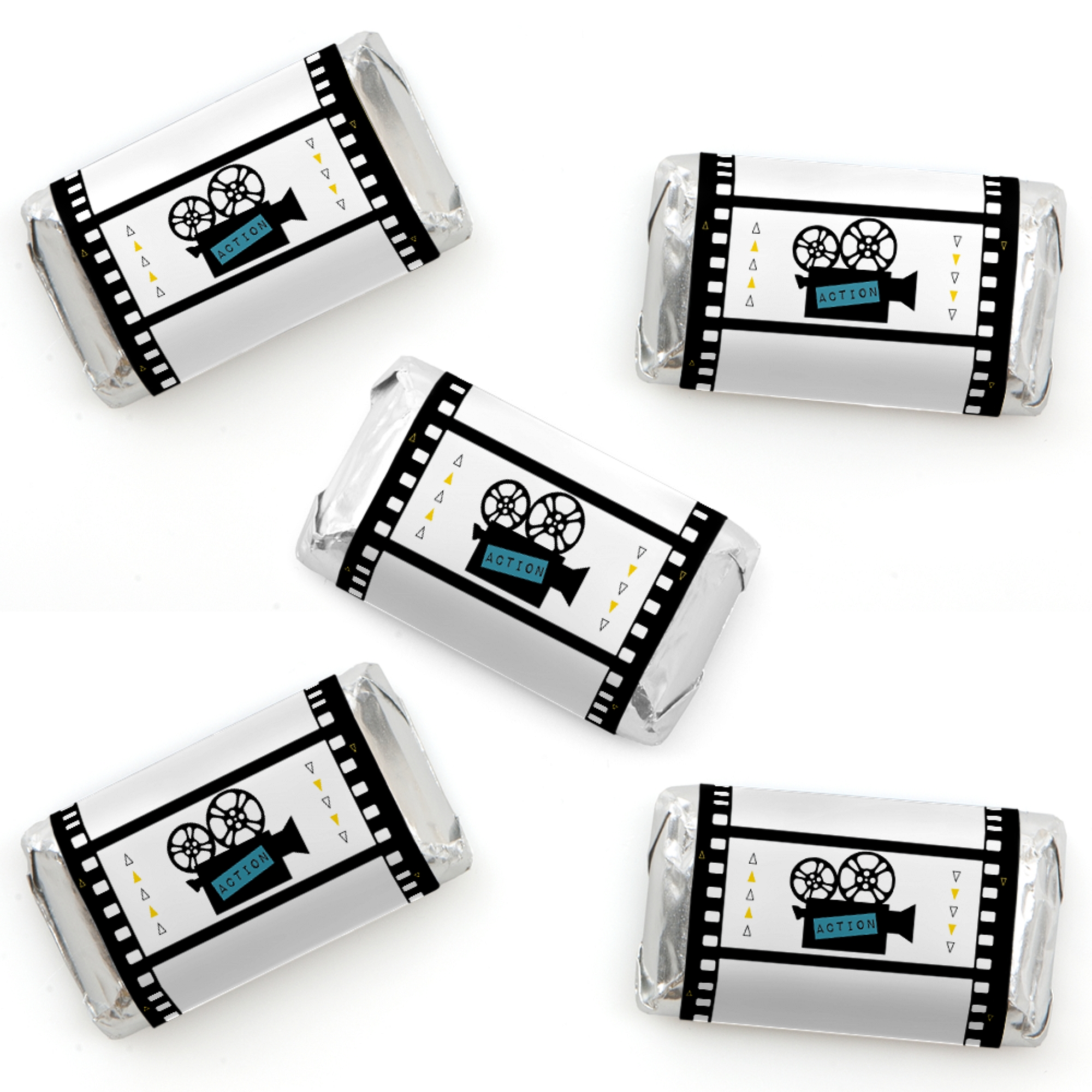 Movie - Mini Candy Bar Wrapper Stickers - Hollywood Party Small Favors - 40 Count