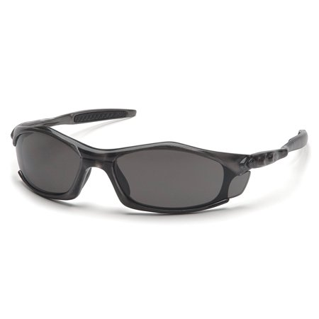 Pyramex Solara Safety Eyewear, Gray Lens With Gray Frame, Straight back temples with rubber insert provides comfort fit By Pyramex Safety