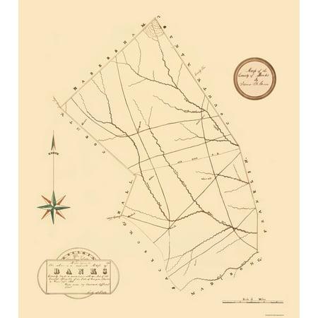 Old County Map   Banks Georgia   Green 1868   23 X 25 96