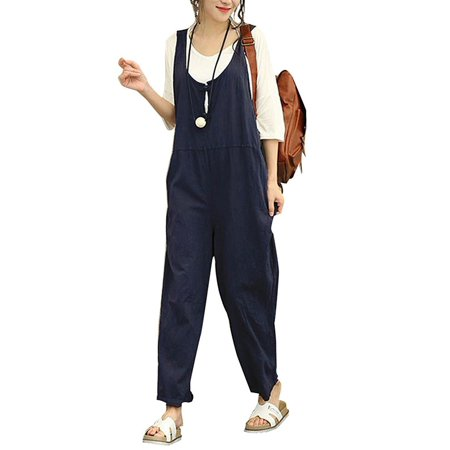Women's Fashion Sleeveless Cotton Linen Loose Jumpsuits - 70s Jumpsuit Womens