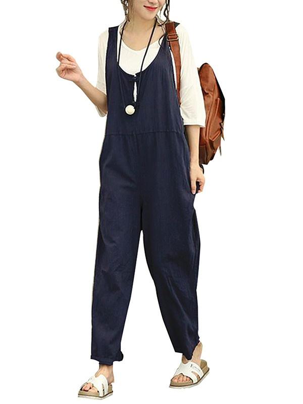 Twin linen overalls