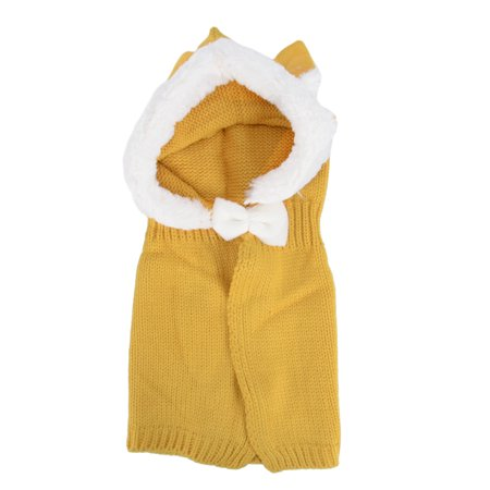 Baby Infant Winter Warm Cute Caps Scarf Set with Rabbit Ear, Yellow - Yellow Cape