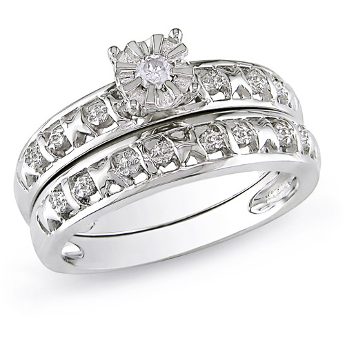 Miabella Round Diamond Accent Bridal Ring Set in Sterling Silver