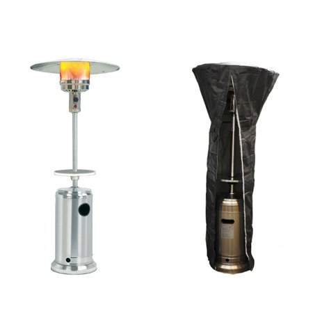 Image of SUNHEAT Classic Umbrella Design Portable Propane Patio Heater with Drink Table, Stainless Steel with Round Patio Heater Cover