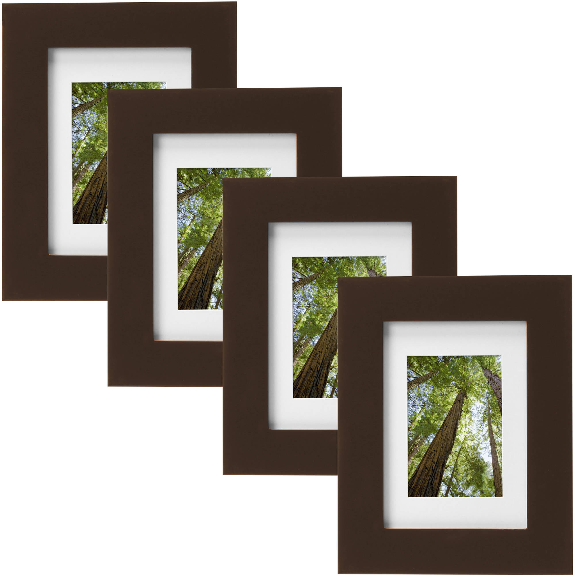 "Mainstays Museum 5"" x 7"" Matted to 3.5"" x 5"" Solid Wood Picture Frame, Mahogany, Set of 4"