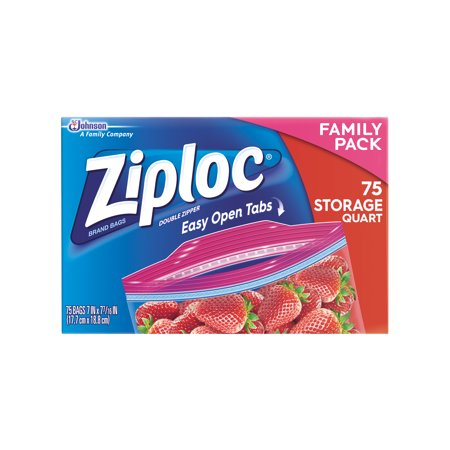 Ziploc Pinch & Seal Storage Bags, Quart, 75 Count