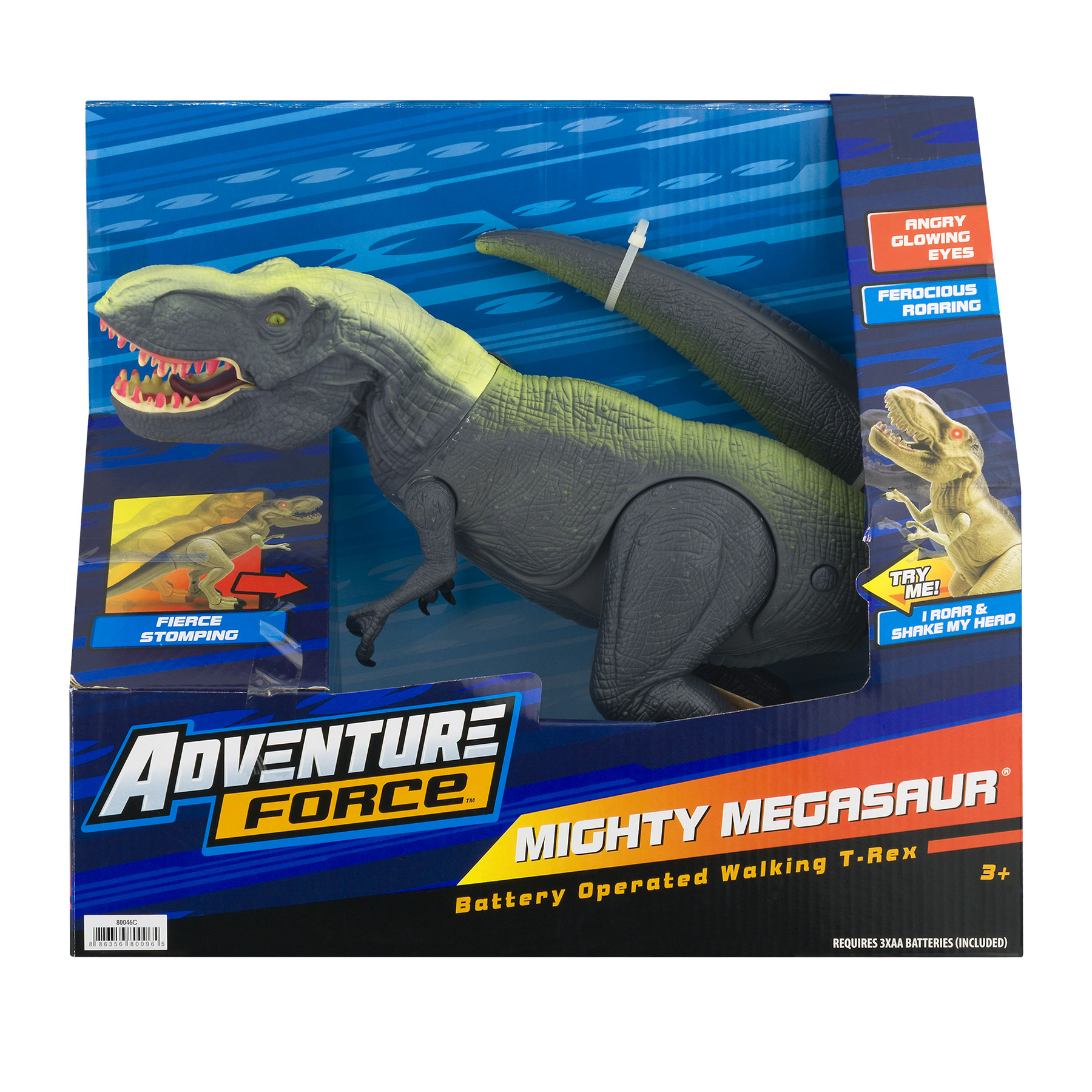 Adventure Force Mighty Megasaur Battery-Operated Walking T-Rex, Green