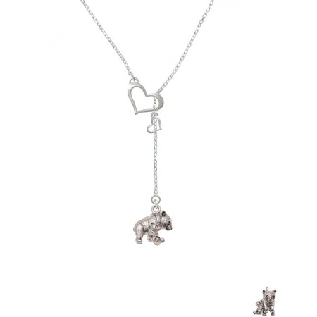 Silvertone Panda with Baby - In My Heart Lariat Necklace