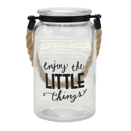 Stonebriar Decorative Glass Candle Lantern with Handle and Sentiment -