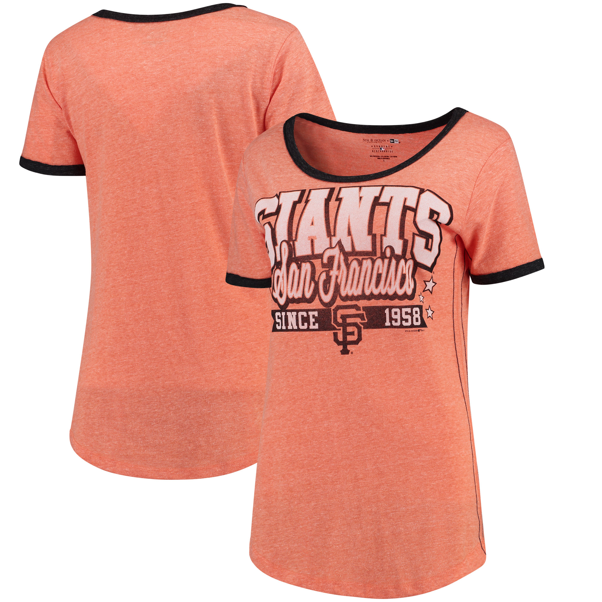 San Francisco Giants 5th & Ocean by New Era Women's Jersey Ringer Tri-Blend T-Shirt - Orange/Black