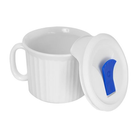 CorningWare 20-oz Oven-Safe Pop-In Mug with Vented Lid, French White