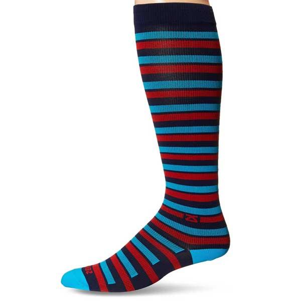 Fresh Legs Unisex Stripes Compression Socks-Nvy/Rd-Medium