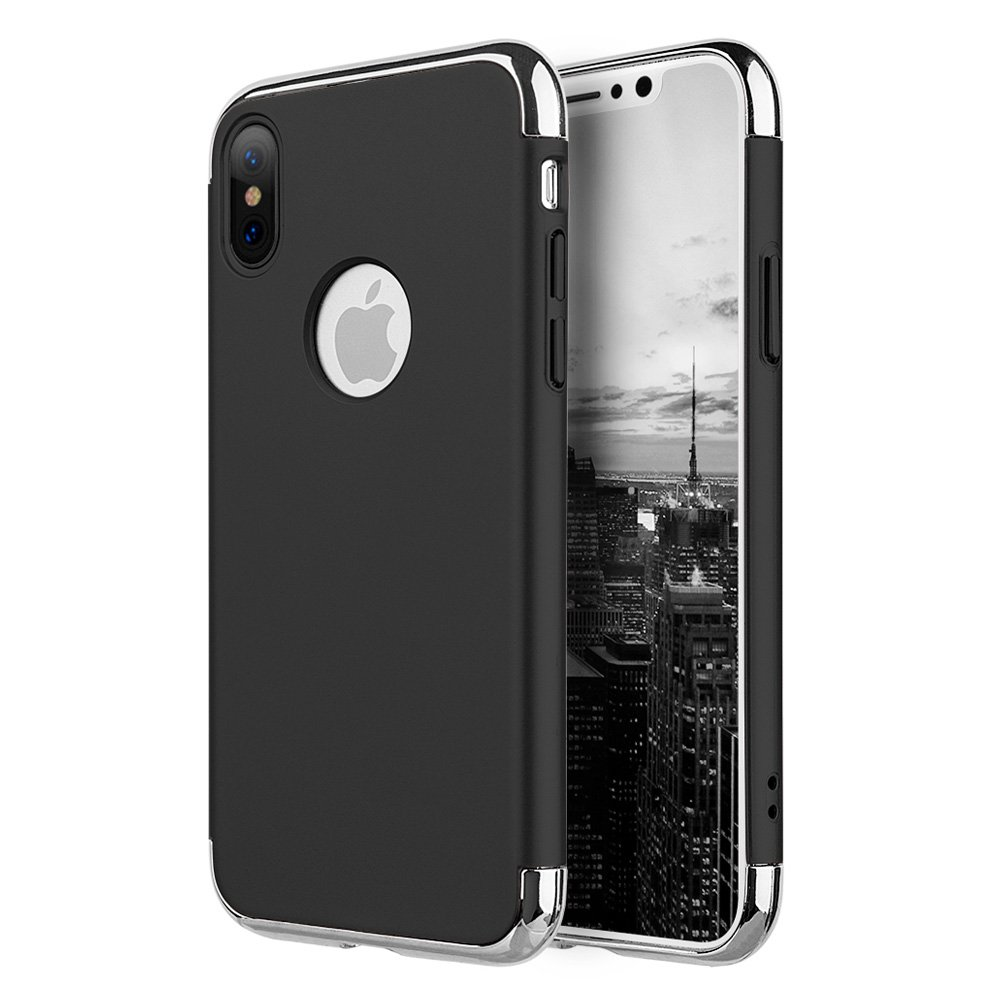 iPhone X Case, Premium 3 in 1 Advance Slim Protection Hard Case Rubberized Protective Cover with Chrome Frame for Apple iPhone X - Black