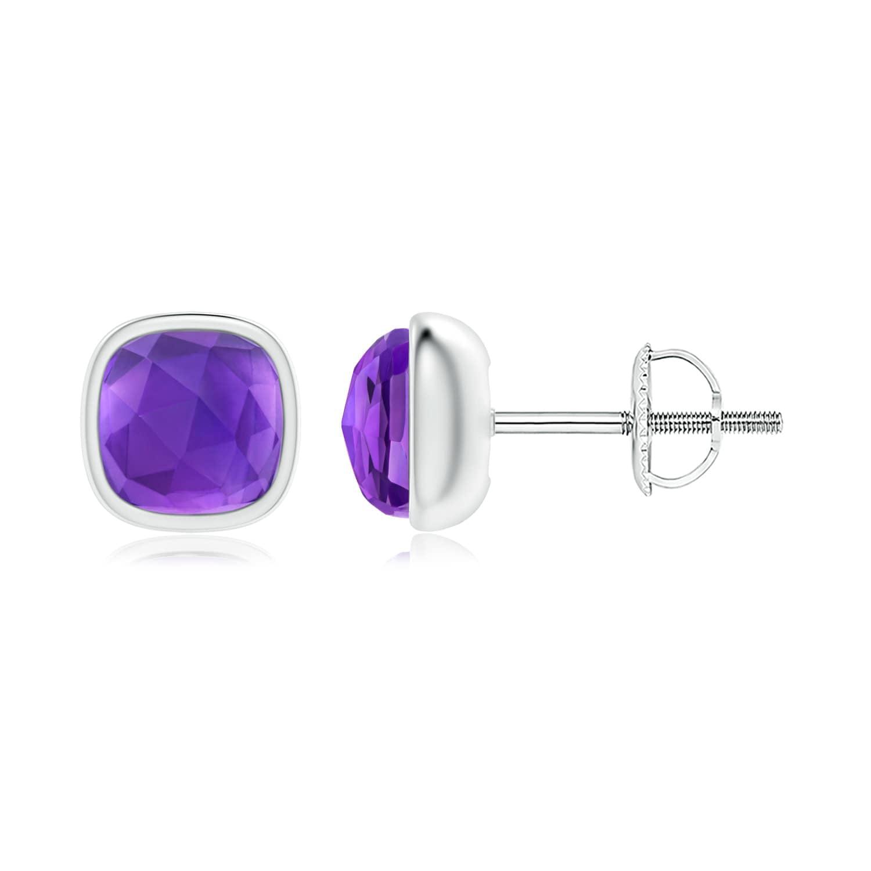Angara White Gold Amethyst Stud Earrings With Diamonds VkfRuhEb3