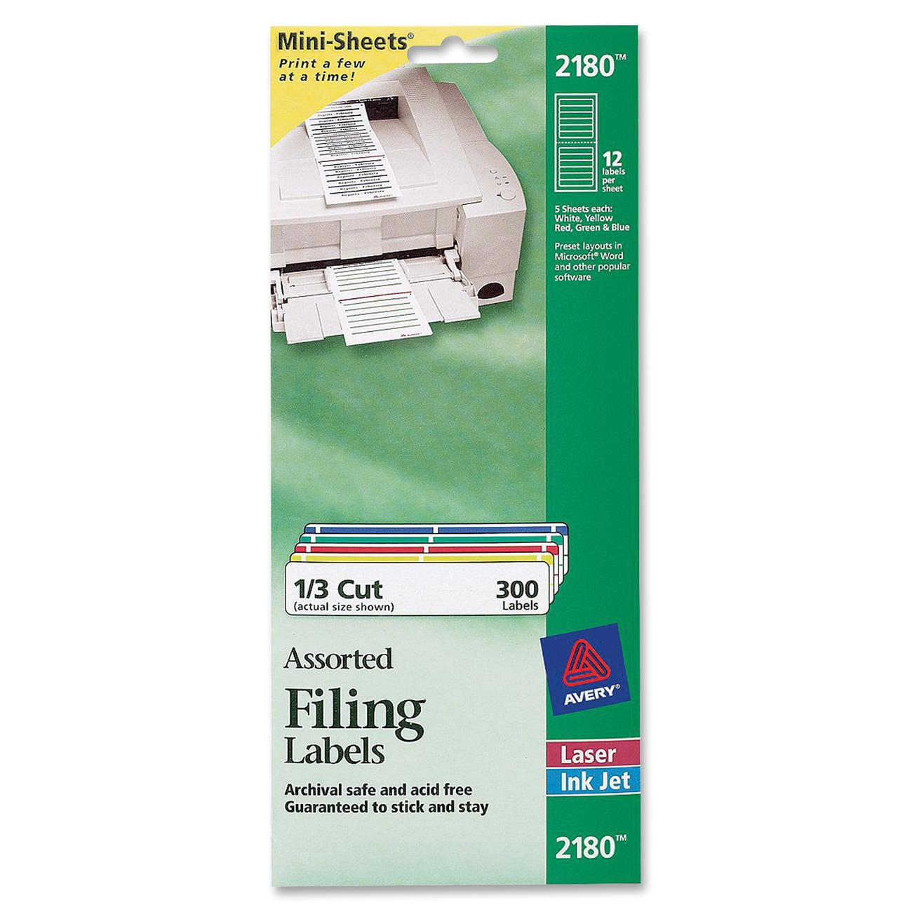 Avery File Folder Labels on Mini Sheets, 2/3 x 3 7/16, Assorted, 300/Pack